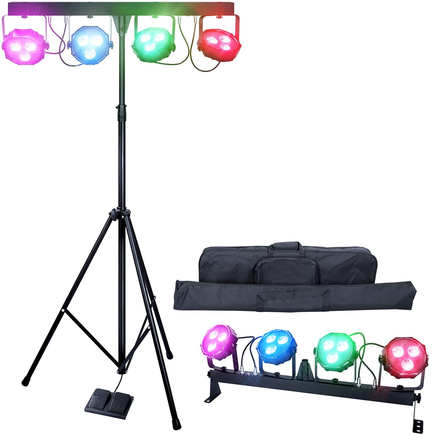 DragonX 4 Bar LED mobile DJ Stage Lighting Package