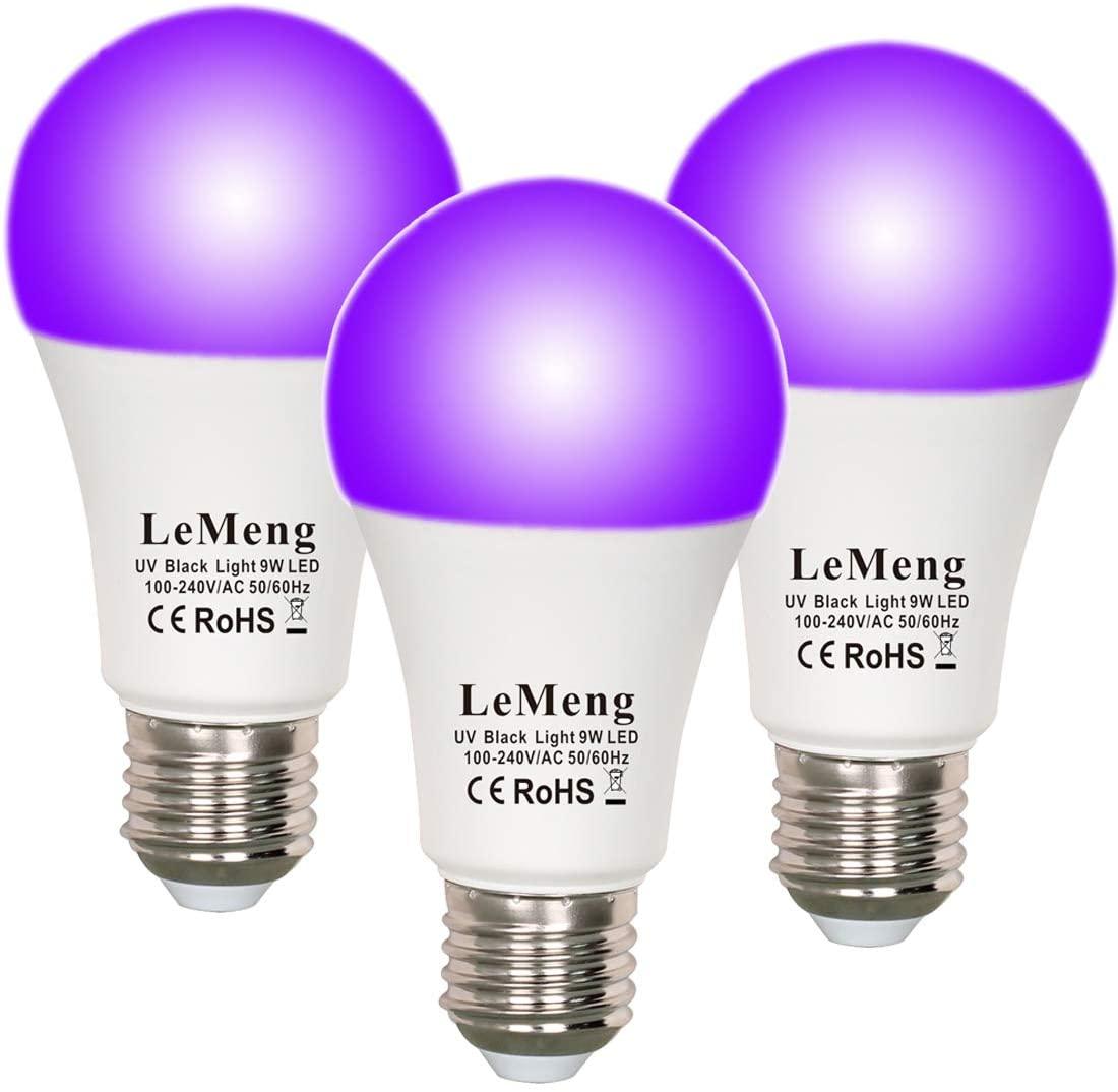 LeMeng LED Black Lights Bulb 9W Blacklight A19